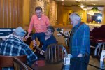 Going over songs: (l-r) Bob Sink; Butch Rupp; Me chewing gum; and Mike Elias