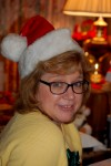 Laurie with her Santa cap!