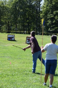 Atlatl throwing.