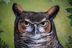 "Detail from my painting called, ""Great-Horned Owl""."